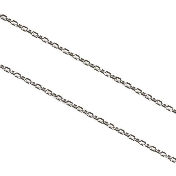 Natural Silver Stainless Steel 1mm Small Flat Cable Chain - 10 meter spool, SS01s-sp