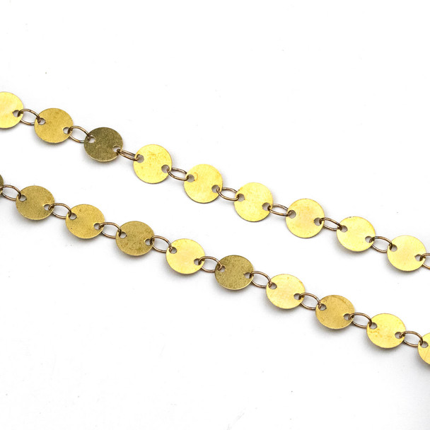 Raw Brass 5mm Coin Link Chain - CTBPF-010sp - 10 meter spool