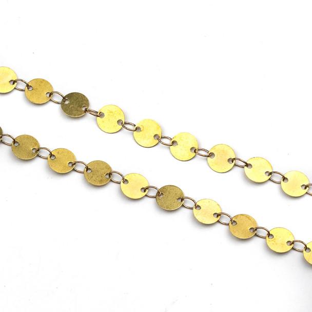 Raw Brass 5mm Coin Link Chain - CTBPF-010-1m - 1 meter