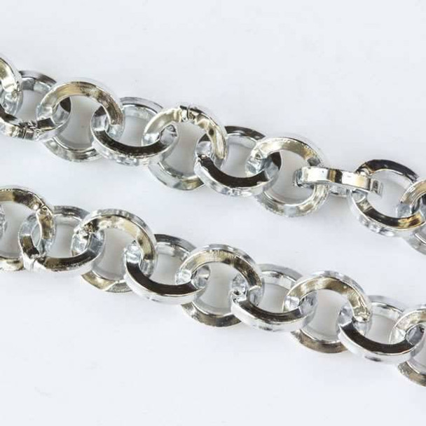 Silver Aluminum Chain with 7mm Squared Round Links - chainK15305s-spool