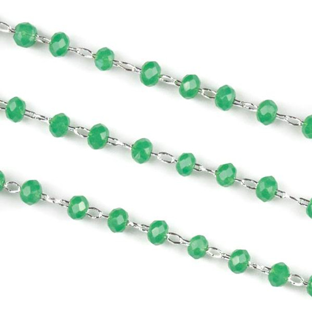 Handmade Silver Plated Brass Delicate Chain with 2mm Lilypad Green Crystal Rondelle Beads - 1 foot