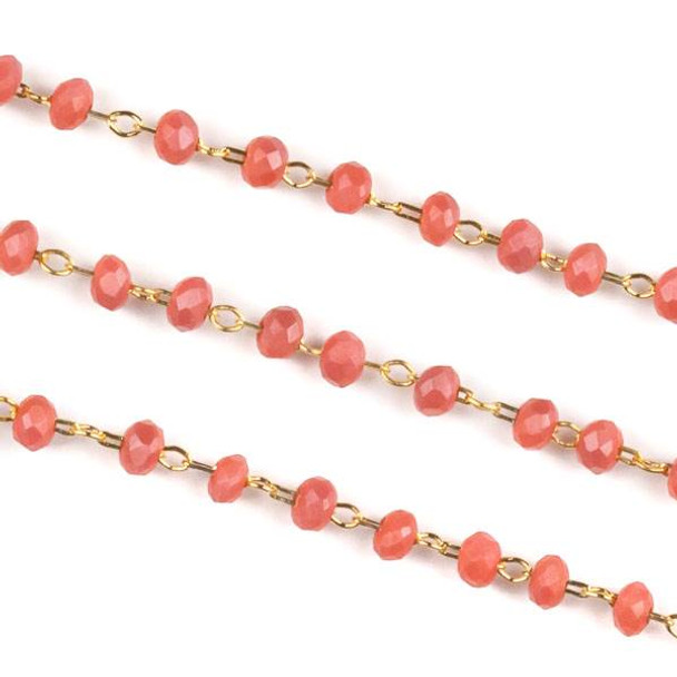 Handmade Gold Plated Brass Delicate Chain with 2mm Matte Wild Strawberry Crystal Rondelle Beads - 1 foot