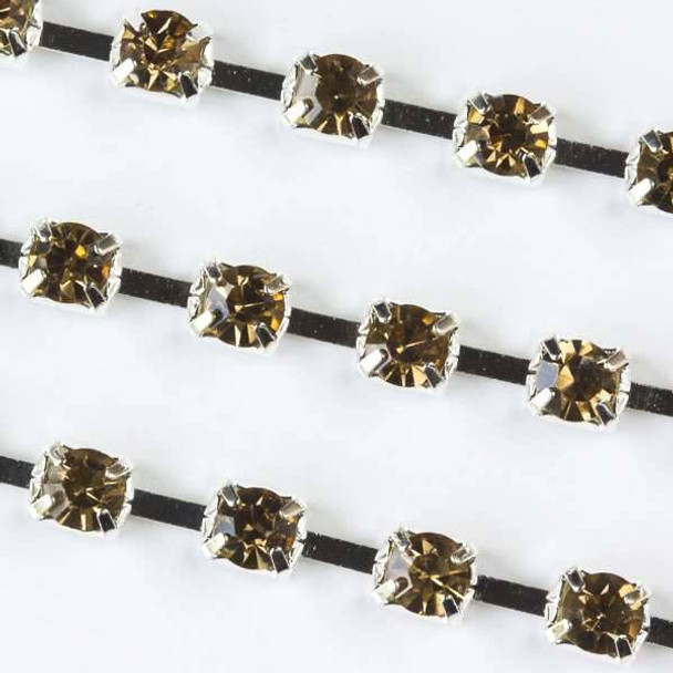 Silver Base Metal 3mm Cup Chain with 3mm Spaces and Champagne Crystals - 1 foot
