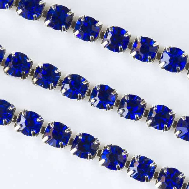 Silver Base Metal 3mm Rhinestone Cup Chain with Sapphire Blue Crystals - Spool