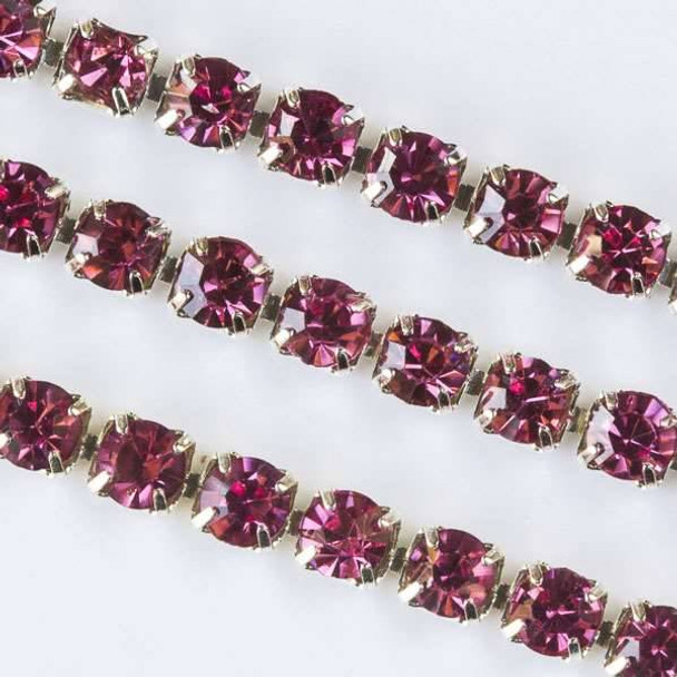 Silver Base Metal 3mm Rhinestone Cup Chain with Pink Crystals - Spool