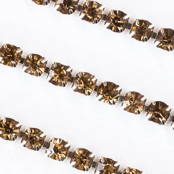 Silver Base Metal 3mm Rhinestone Cup Chain with Citrine Yellow Crystals - 1 foot