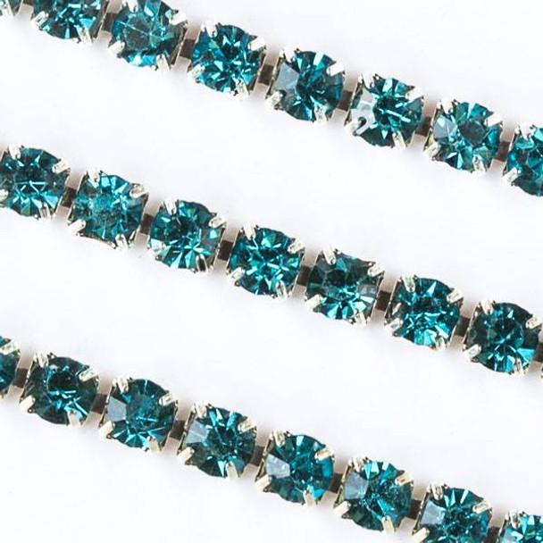 Silver Base Metal 3mm Rhinestone Cup Chain with Aqua Blue Crystals - Spool