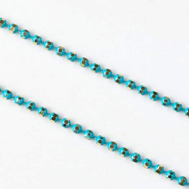 Turquoise Blue and Gold 1.5mm Ball Chain - chainball1.5gldtq - 25 yard spool