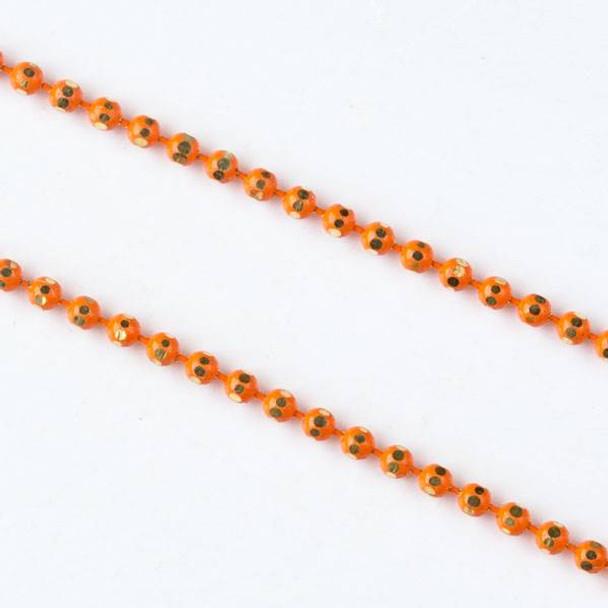 Orange and Gold 1.5mm Ball Chain - chainball1.5gldorg - 25 yard spool