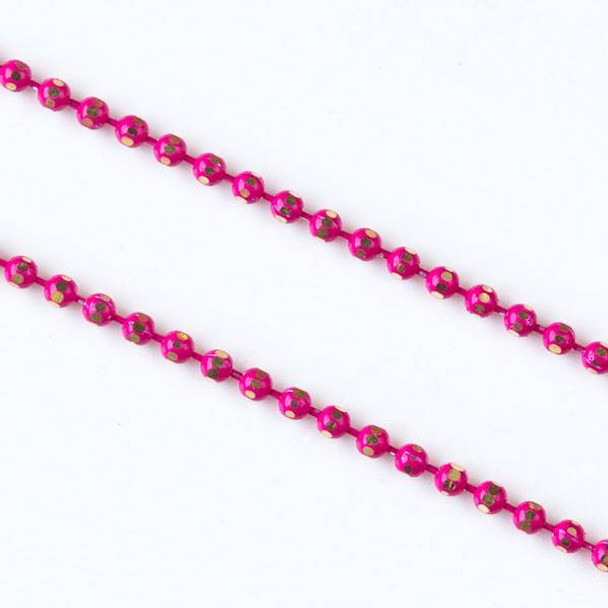Hot Pink and Gold 1.5mm Ball Chain - chainball1.5gldhtpnk - 25 yard spool