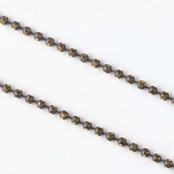 Grey and Gold 1.5mm Ball Chain - chainball1.5gldgry - 25 yard spool