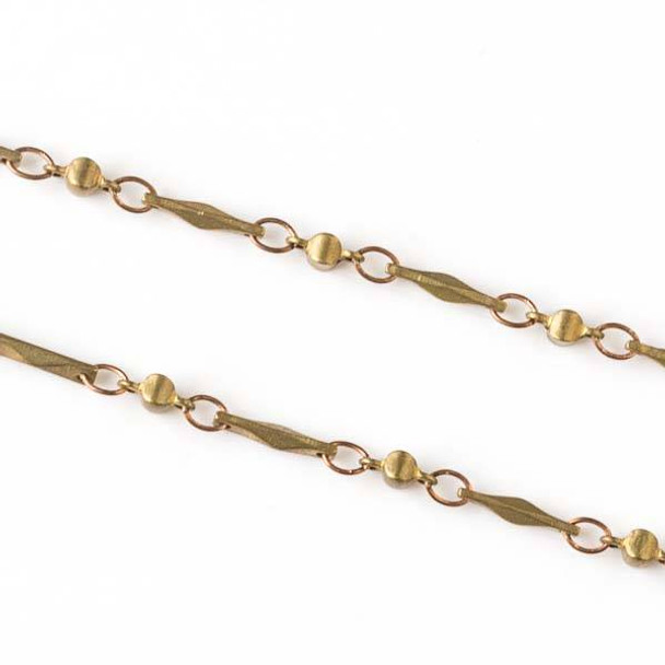 Brass Chain with 2.5x3.5mm Small Oval Links alternating with 2.5x5.5mm Cushion Links and 1.5x9mm Faceted Bar Links - chain2583vb-sp - 10 meter spool