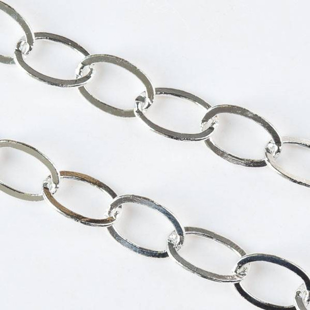 Silver Brass Chain with 9x13mm Flat Soldered Oval Links - chain210SFs - 1 foot