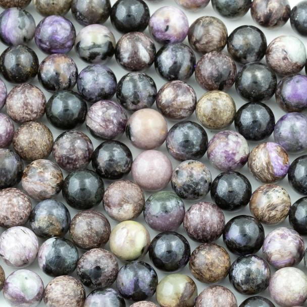 Charoite 10mm Round Beads - 15.5 inch strand
