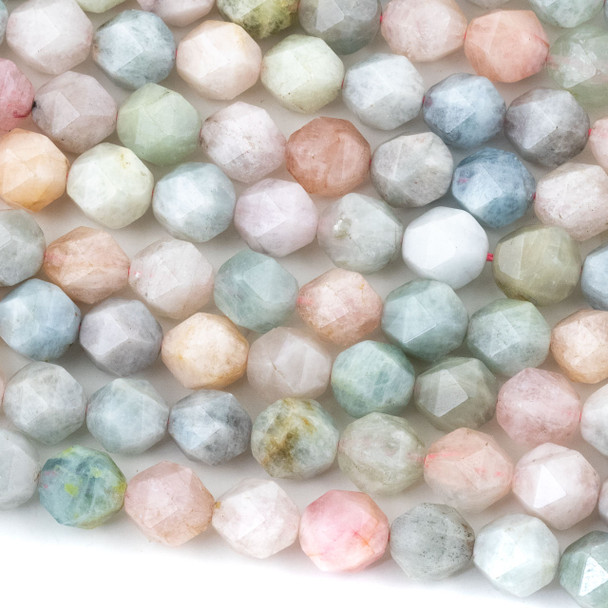 Morganite 12mm Simple Faceted Star Cut Beads - 16 inch strand