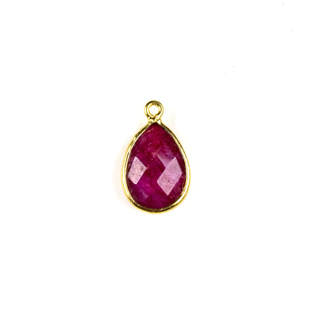 Ruby 11x19mm Teardrop Drop with a Gold Plated Brass Bezel - 1 per bag
