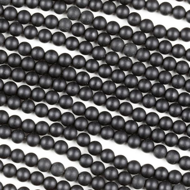 Matte Black Agate 6mm Round Beads - 15 inch strand