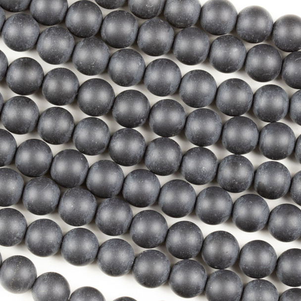 Matte Black Agate 10mm Round Beads - 15 inch strand