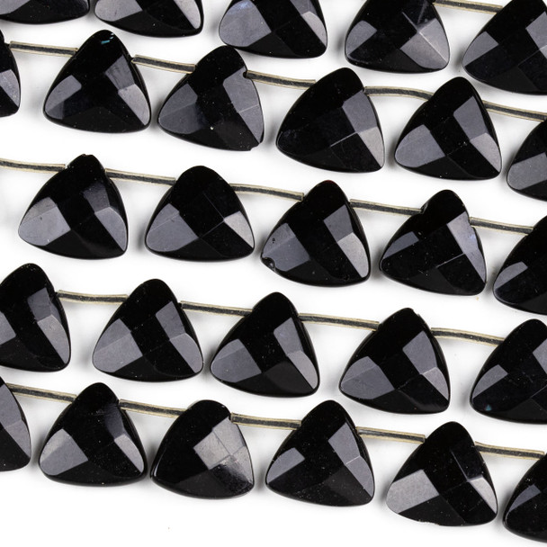 Black Agate 16mm Faceted Top Drilled Triangle Beads - 16 inch strand