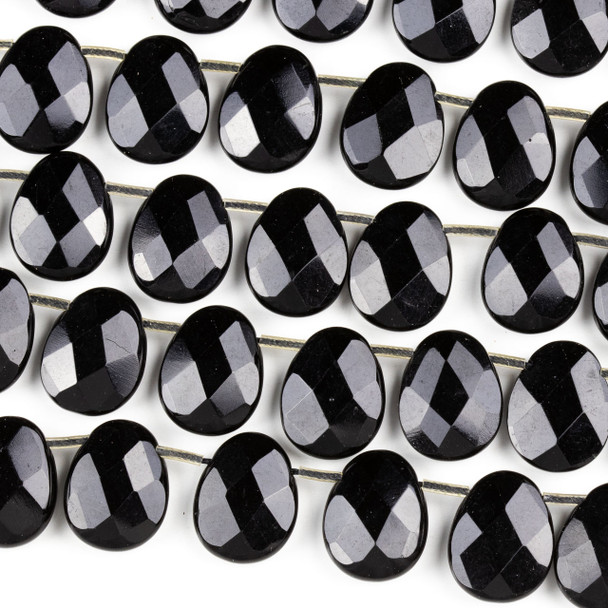 Black Agate 14x18mm Faceted Top Drilled Teardrop Beads - 16 inch strand