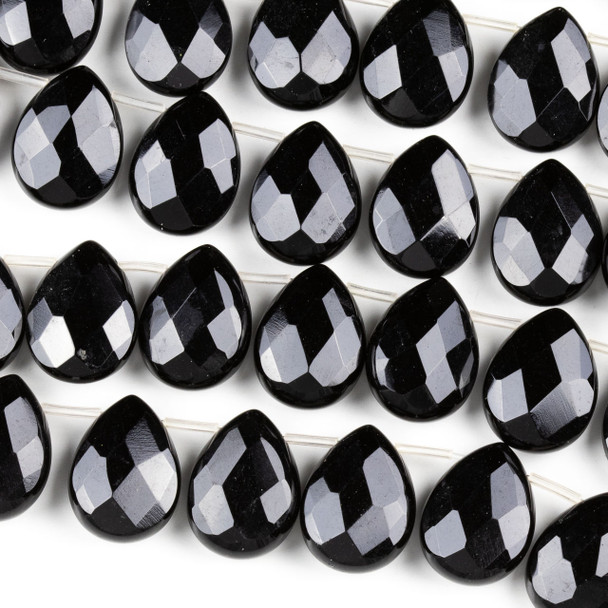 Black Agate 15x20mm Faceted Top Drilled Teardrop Beads - 9 inch strand