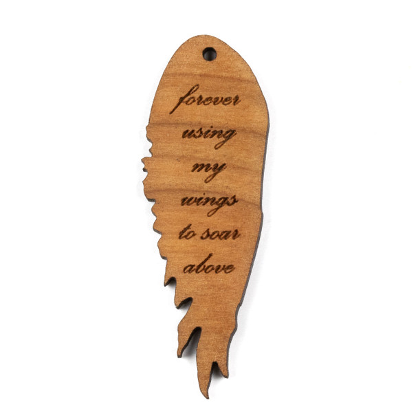Handmade Wooden 20x57mm Wings to Soar Left Facing Focal - 1 per bag