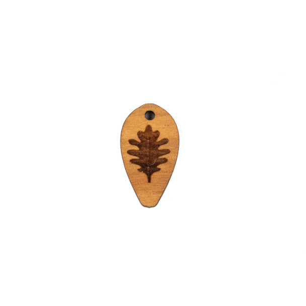 Handmade Wooden 12x22mm Oak Leaf Dew Drop Focal - 1 per bag
