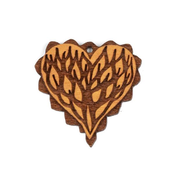 Handmade Wooden 40mm Scalloped Viney Heart Focal - 1 per bag