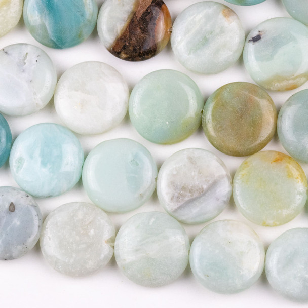 Amazonite 20mm Coin Beads - 15 inch strand, Grade B