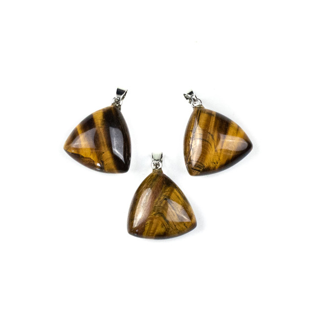 Yellow Tigereye 25mm Triangle Pendant with Silver Plated Brass Bail -  1 per bag