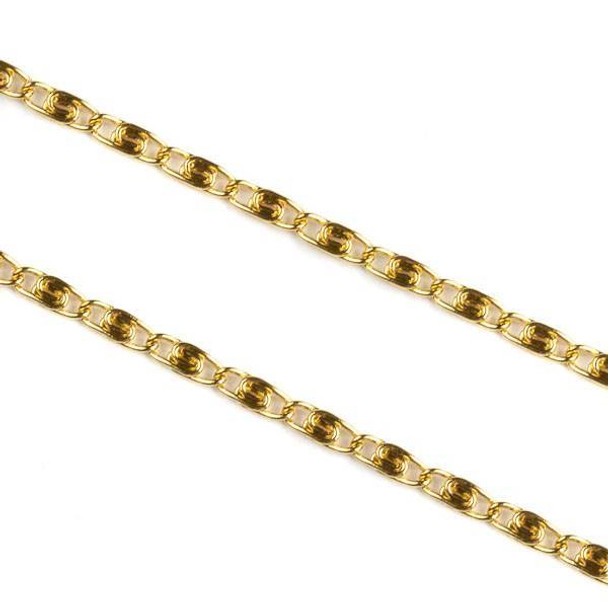 Gold Plated Stainless Steel 2mm Snail Chain - 2 meters, SS06g-2m