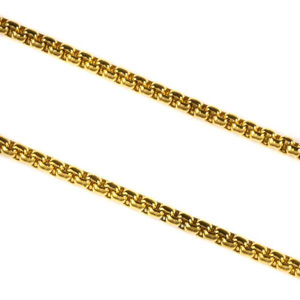 Gold Plated Stainless Steel 2mm Cable Chain - 2 meters, SS03g-2m