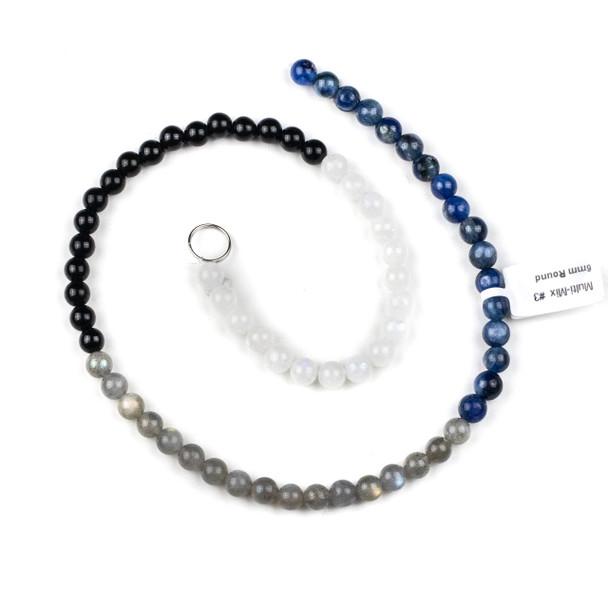 Starry Night Gemstone Artisan Strand - 6mm Round Beads, 15.5 inch strand, mix #3