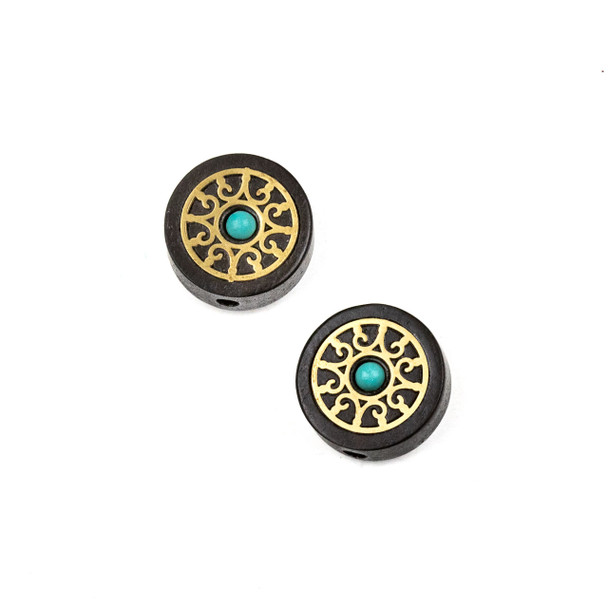 Carved Wood Focal Bead - 16mm Sandalwood Coin with Brass Scroll Design and Blue Howlite Center, 1 per bag