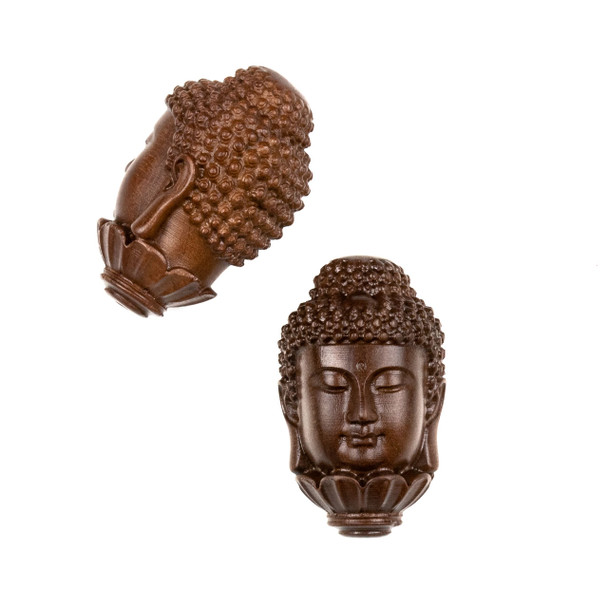 Carved Wood Focal Bead - 20x33mm Large Sandalwood Lotus Buddha, 1 per bag