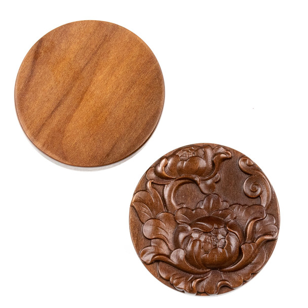Carved Wood Focal Bead - 35mm Sandalwood Top Drilled Coin with Water Lotus, 1 per bag