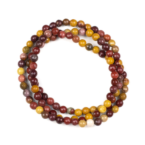 Mookaite 6mm Mala Faceted Round Beads - 29 inch strand