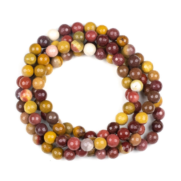 Mookaite 8mm Mala Faceted Round Beads - 36 inch strand