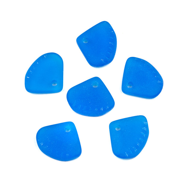 Matte Glass, Sea Glass Style 20x24mm Pacific Blue Ridged Triangle Pendants - 6 per bag