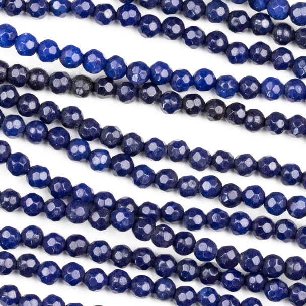 Dyed Jade 4mm Dark Sapphire Blue Faceted Round Beads - 8 inch strand