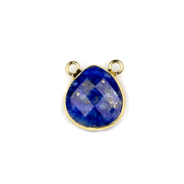 Lapis 15x16mm Faceted Teardrop Pendant Drop with with a Brass Plated Base Metal Bezel - 1 per bag