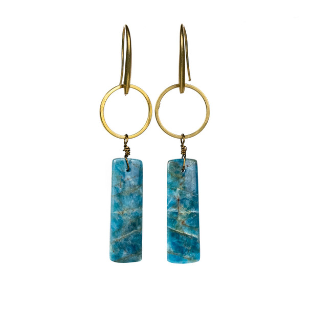 Apatite Rectangle Drop & Brass Hoop Earrings - #13