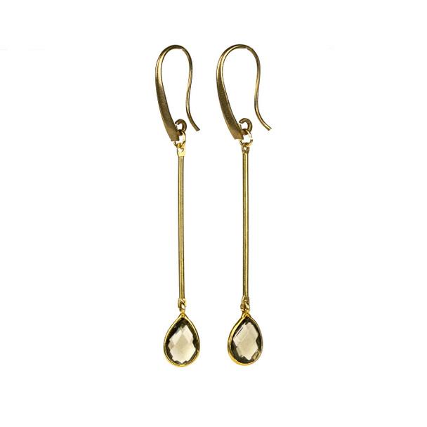 Smoky Quartz Drop & Brass Earrings - #14