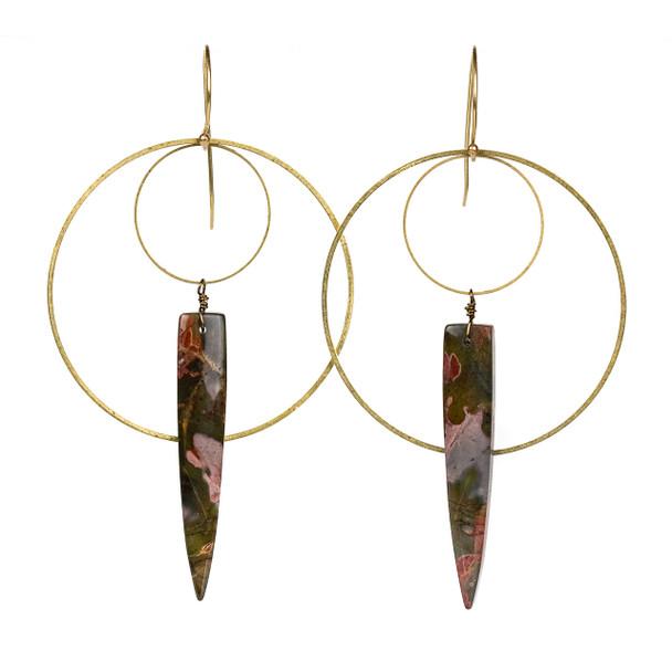 Cherry Creek Jasper Dagger & Layered Hoop Earrings - #20