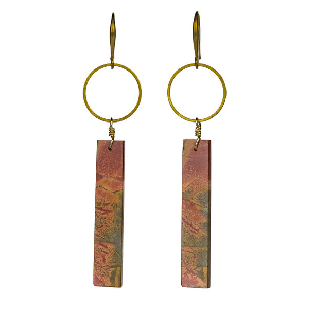 Cherry Creek Jasper Rectangle & Hoop Earrings - #23
