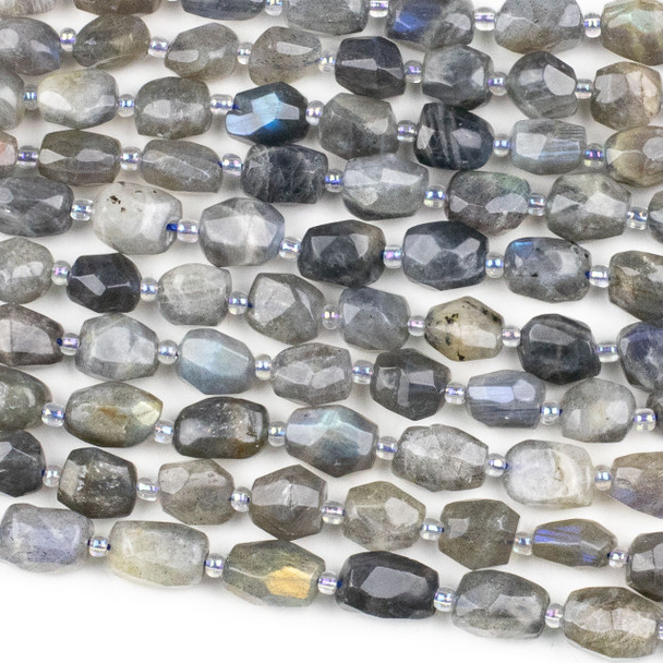 Blue Labradorite 8x10mm Faceted Nugget Beads - 15 inch strand