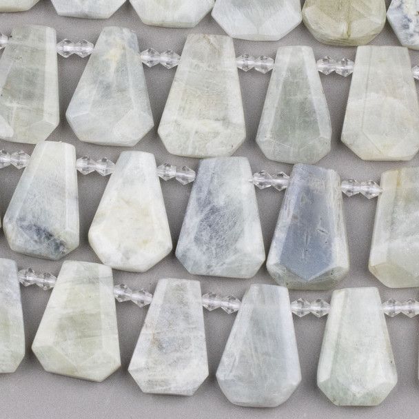 Moonstone 20x29mm Top Drilled Faceted Shield Beads - 15 inch strand