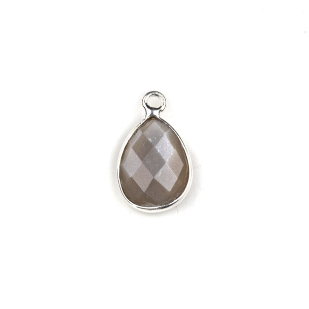 Mystic Moonstone approximately 11x19mm Teardrop Drop with a Silver Plated Brass Bezel - 1 per bag
