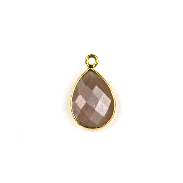 Mystic Moonstone approximately 11x19mm Teardrop Drop with a Gold Plated Brass Bezel - 1 per bag