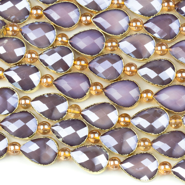 Crystal 13x18mm Opaque Purple Faceted Teardrop Beads with Golden Foil Edges - 9 inch strand